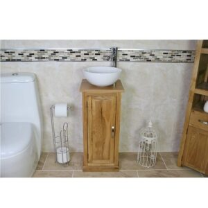 Courtright Compact Solid Oak 350mm Free-Standing Vanity Unit Belfry Bathroom