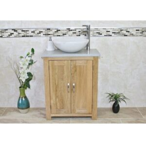 Cowen Compact Solid Oak 650mm Free-Standing Vanity Unit Belfry Bathroom Base Finish: Light Wood, Top Finish: Grey, Sink Finish: White Marble