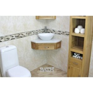 Crank Compact Solid Oak 550mm Wall Mounted Vanity Unit Belfry Bathroom Top FInish: White Marble