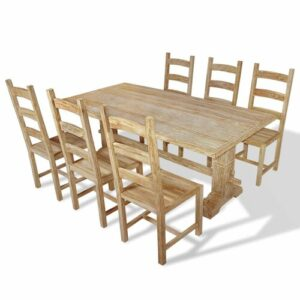 Cristobal Dining Set with 6 Chairs Union Rustic