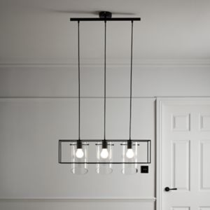 Daluiz Matt Black 3 Lamp Pendant ceiling light