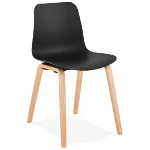 Edina Dining Chair Ebern Designs Upholstery Colour: Black, Leg Colour: Natural