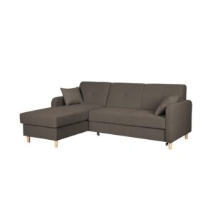 Fire Corner Sofa Bed Home & Haus Orientation: Left Hand Facing, Upholstery Colour: Brown