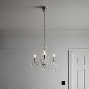 Gacruz Transparent Chrome effect 3 Lamp Pendant ceiling light
