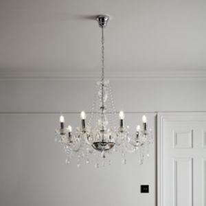 Gacruz Transparent Chrome effect 8 Lamp Pendant ceiling light