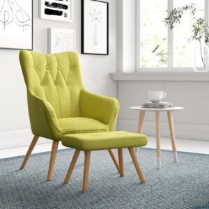 Georgia Wingback Chair and Footstool Zipcode Design