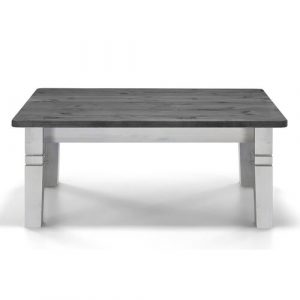 Hoboken Coffee Table August Grove Frame Colour: White, Tabletop Colour: Grey/Brown/Blue