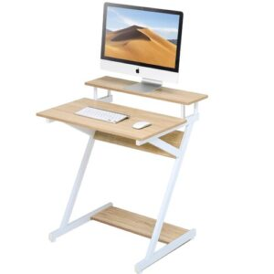Huckaby Computer Desk Williston Forge Frame Colour: White, Top Colour: Oak