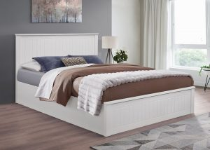 Idaho White Small Double Ottoman Bed