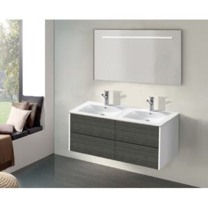 Innoko 3- Piece Bathroom Furniture Set with LED Mirror Belfry Bathroom Furniture Finish (Front / Body): Grey Wood / White