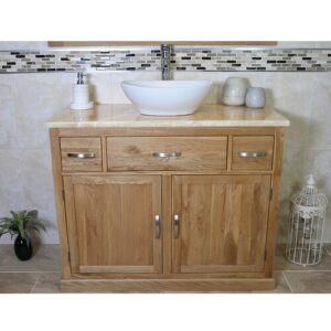 Joshua Solid Oak 1000mm Free-Standing Vanity Unit Belfry Bathroom