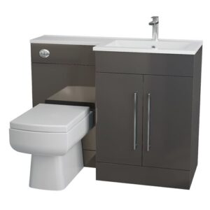 Kieron L-Shaped 3-Piece Bathroom Furniture Set Belfry Bathroom Configuration: Right-Handed, Furniture Finish: Anthracite