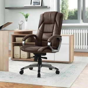 Leather Executive Chair Symple Stuff Colour: Brown