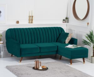 Luciana Sofa Bed in Green Velvet