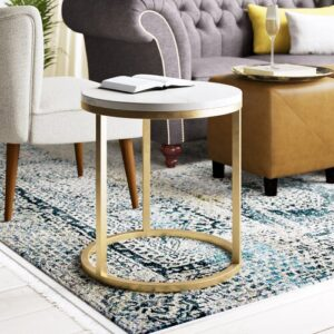 Marble Side Table Hazelwood Home Finish: White/Gold