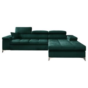 Mikkara Sleeper Corner Sofa Bed Selsey Living Upholstery Colour: Emerald Green, Orientation: Right Hand Facing