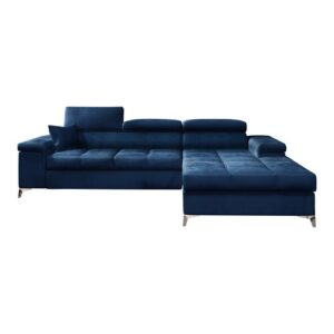 Mikkara Sleeper Corner Sofa Bed Selsey Living Upholstery Colour: Navy Blue, Orientation: Right Hand Facing
