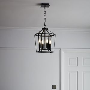 Nantan Matt Black 4 Lamp Pendant ceiling light