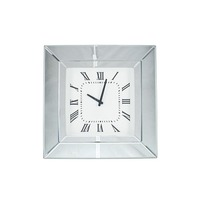 Pacific Lifestyle πpe; Silver Mirrored Glass & Wood Square Wall Clock