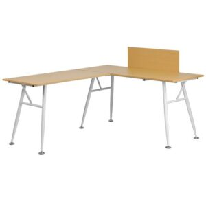 Rawley L-Shape Desk Blue Elephant Colour: Beech/White