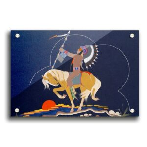 Red Indian Ethnic - Unframed Graphic Art Print on Acrylic East Urban Home Size: 21cm H x 29.7cm W x 1cm D