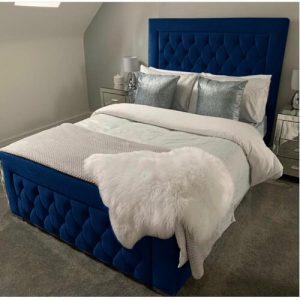 Rhiannon Upholstered Bed Frame Willa Arlo Interiors Colour: Blue Plush, Size: Single (3'), Button Types: Fabric