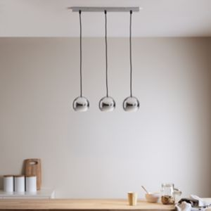 Roccheta Chrome effect 3 Lamp Pendant ceiling light