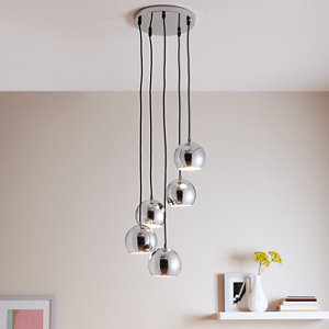 Roccheta Chrome effect 5 Lamp Pendant ceiling light