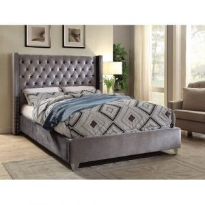 Rowland Upholstered Frame Bed Willa Arlo Interiors Size: Super King (6'), Colour: Steel
