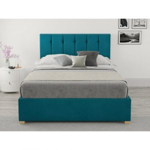 Shanaya Upholstered Ottoman Bed Hashtag Home Colour: Teal, Size: Small Double (4')