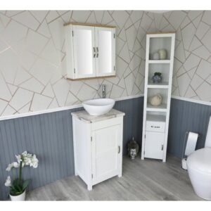 Slimline Compact 515mm Cloakroom Vanity Bathrooms More Store Vanity Unit Colour: White, Top Finish: White Marble