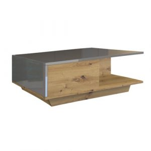 Theresa Coffee Table with Storage Zipcode Design Farbe (Gestell): Artisan oak/High-gloss graphite