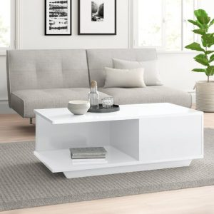 Theresa Coffee Table with Storage Zipcode Design Farbe (Gestell): High-gloss lacquered white
