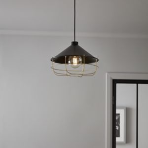 Yondair Matt Black Brass effect Pendant ceiling light