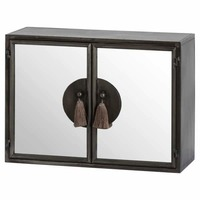 interiors etc πpe; Silver Mirrored Wall Cabinet With Tassel Handles