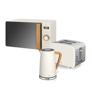 1.7L Stainless Steel Electric Kettle with Microwave and 2 Slice Toaster Swan Colour: White