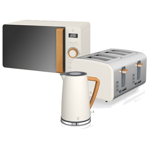 1.7L Stainless Steel Electric Kettle with Microwave and 4 Slice Toaster Swan Colour: White