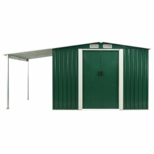 13 ft. W x 7 ft. D Apex Metal Garden Shed WFX Utility Colour: Green