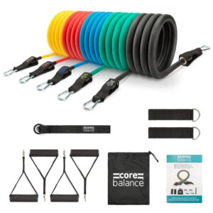 (200lb Set) Resistance Exercise Tubes 13pc Set With 5 Bands Fitness Exercise Yoga Training