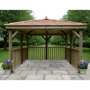3.5m x 3.5m Wooden Gazebo with Cedar Roof Sol 72 Outdoor