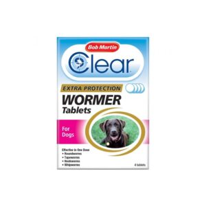 (4 Tablets) Bob Martin Clear 3-in-1 Dog Wormer Tablets   Dog Worming Tablets