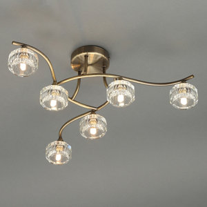 Allyn Brushed Antique brass effect 6 Lamp Ceiling light