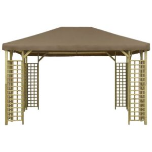 Ameliore 3m x 4m Solid Wood Patio Gazebo Sol 72 Outdoor Roof Colour: Taupe