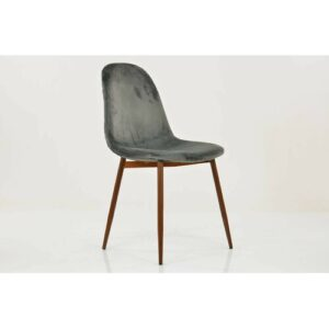 Ardennes Upholstered Dining Chair Ebern Designs Upholstery Colour: Dark Grey, Leg Colour: Brown