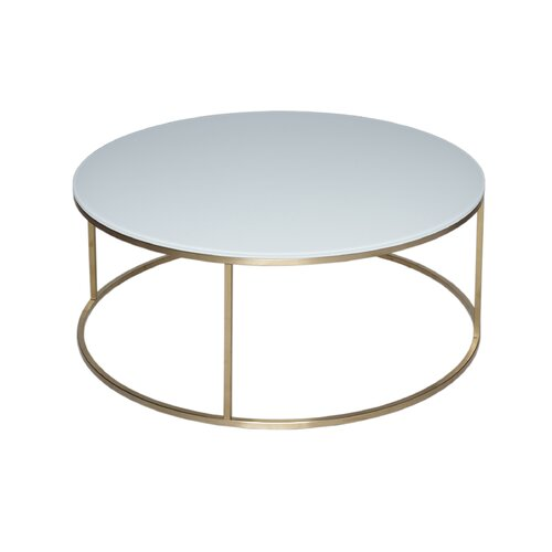 Astra Coffee Table Wrought Studio Size: 39.6 cm H x 100 cm W x 100 cm D, Finish: White / Brass