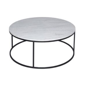 Astra Coffee Table Wrought Studio Size: 40.1 cm H x 100 cm W x 100 cm D, Finish: Marble / Black