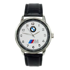 BMW Mens Stainless Steel WHITE Dial Black Leather Strap Sport CAR Watch