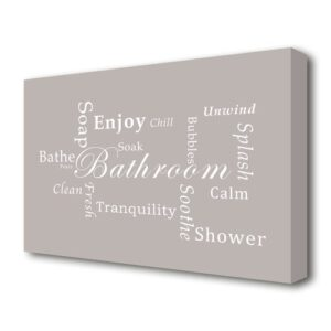 'Bathroom Quote Bathroom Tranquility' Textual Art Print on Canvas in Beige East Urban Home Size: 50.8 cm H x 81.3 cm W