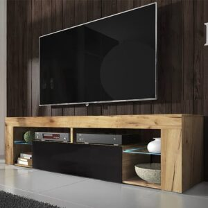 Bianko TV Stand for TVs up to 50'' Selsey Living Colour: Oak/Black Gloss, Lighting included: Yes