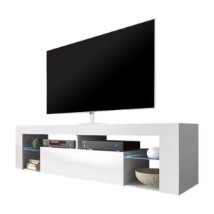 Bianko TV Stand for TVs up to 50'' Selsey Living Colour: White Matt/White Gloss, Lighting included: Yes